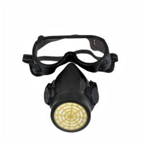 Máscara com filtro e óculos