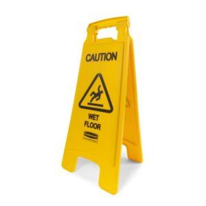 Sinal de chão molhado. PVC, com aviso bilateral.